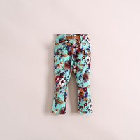 Wholesale 6pcs/lot pretty print causal girl long pants, fashion children pants, cotton good quality