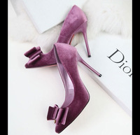 2014 Women Sexy Elegant Bow Shallow Mouth Pointed Toe Thin High Heels OL Single Shoes