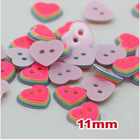 Free shipping! Candy color heart button, DIY 2 holes,11mm, Plastic sewing Button for kins shirt, Scrapbooking, (SS-213)