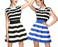 Celeb Style High-Waist Striped Skirts Women's Ball Gown Elastic Casual Short Skirt