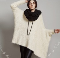 High Quality Knitted Plus Size Bat Slleve Pullovers,Women Fashion Loose Sweaters, Beige,Europe Style Sweater Free Shipping