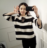 2014 sweet college wind smocking drip collar striped shirt sleeve T-shirt