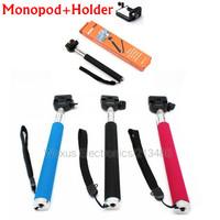 Adjustable Cell Phone Holder+ Extendable Handheld Telescopic Monopod For Digital Camera Cell Phone