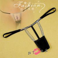 Alluing diamond  gauze female t-back / Sexy women cotton underwear / exquisite crystal design open-crotch panties for women