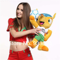 100% Polyester 2014 Brazil World Cup mascot Hold Ball Fuleco Big plush toys 45 Cm