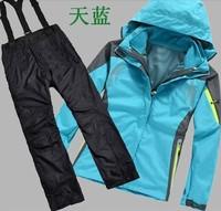 Brand women 2in1 winter waterproof windproof hiking camping outdoor suit jacket pants ski suit outdoor clothes outerwear