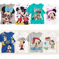Free Shipping 5pcs/lot Hot  Kids baby boys girls Minnie Mickey T shirts hoodies baby boys girls t shirt kids clothes wholesale
