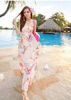 New Bohemia wrapped chest harness rainbow chiffon dress beach dress 2014 fashion women skrit hot sale free shipping