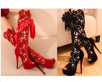 Hot sale 2013 The latest Laides sexy knee high gladiator sandals women's nightclub hollow high heel boots Sandals