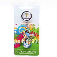 New 2014 World Cup Mascots 3D Sided Keychains PVC Material Souvenir