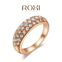 Wedding Jewelry Austrian Rhinestone 18K Real Rose Gold Plated Exquisite Inlaid Ring SWA ELEMENT Austrian Crystal Ring O-RI0137