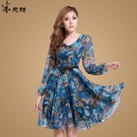 spring 2014 cute women print flower summer dress,women dress,long sleeve casual summer dresses,novelty dresses