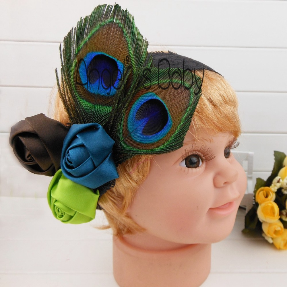 Angel's Baby Store #J0020 Spring 2014 Fashion Infant Baby Kids Peacock Satin Flower Feather Headband Accessories Ornamentation(China (Mainland))