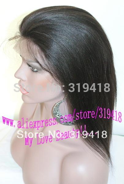 Preço de atacado! Yaki em linha reta 130 densidade Glueless perucas linha fina Natural perucas cabelo india, Parte(China (Mainland))