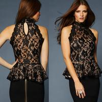 free shipping+2014 Richcoco fashion sexy ruffle strapless cutout sweep the back sleeveless lace turtleneck shirt big size XS-XXL