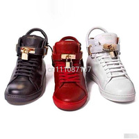 2014 New Fashion Shoes for Men and women unisex buscemi shoes boots high quality genuine leather with lock, red & black & white