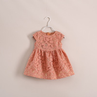 Wholesale 14 years of spring models tricolor lace short-sleeved dress children's clothing  cute 6pcs/lot ye030226