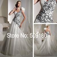 Elegent lace appliqued A line customized floor length wedding gown design PX153 one shoulder chiffon beach wedding dresses
