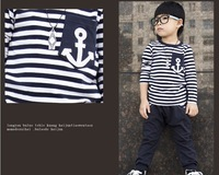 2014 spring and autumn models models Large Kids Boys Boys long-sleeved cotton striped navy suit wind suit for Children