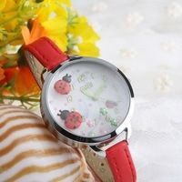 pardustrade wholesale&retail 2014 new style mini watches fimo ladybug leather strap fashion lady watches bayan mini izle
