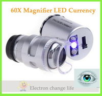 Pocket 60X Magnifier Microscope Loupe LED Currency UV, Freeshipping