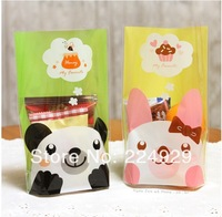 free shipping 100pc/lot 14x20cm Cookie packaging plastic bags cartoon panda Rabbit baking bag snack baking package