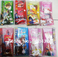Free Shipping! 100sets/lot  2014 Fashion Cartoon Stationery Set School Set for Chidlren G3205 on Sale Wholesale
