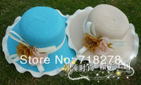 Free shipping(6 pieces/pack) Hot sale! Lovely design flower straw hat/sun hat/beach hat