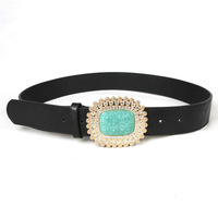Free shipping Hot-sale imported  Ladies Rhinestone Turquoise Buckle Belt Casual Belt oip654 BT-B463ewwg79