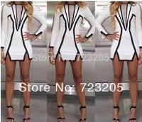 2014 New Arrival Fashion Women Clothing Spring & Summer Black and White Geometric Dress Celebrity Long Sleeve Irregular Dress