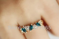 Min.order is $10 (mix order) New 2014 fashion Korean refinement imitation gemstone diamond leaves rings women JE006
