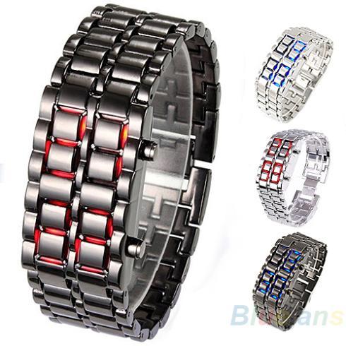 Men Women Lava Iron Samurai Metal LED Faceless Bracelet Watch Wristwatch Stainless Steel Novelty Item for Gift 093L(China (Mainland))