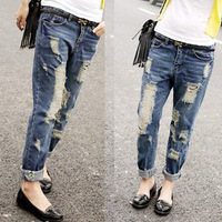 [Town factory treasure] Korean boyfriend jeans big yards loose drawing hole collapse pants Women's Pants