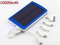 Brand New Full 10000mAh Solar Power Panel Dual USB External Mobile Battery Power Bank Black Silver Red Blue