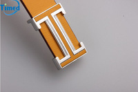 2014 Male casual button smooth letter I buckle leather belt