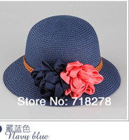 Free shipping(6 pieces/pack) Hot sale! For women flower straw hat/sun hat/beach hat