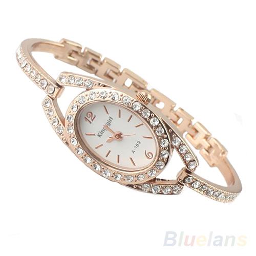 Fashion Minimalism Ladies Women Rhinestone Watch Golden Stainless Steel Wrist Watches Items 096X