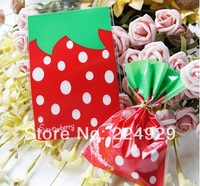 free shipping 100pcs/lot 7X10cm Cookie packaging red strawberry plastic bags for biscuits snack baking package