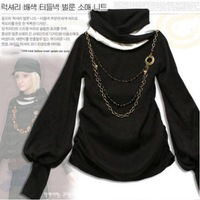 New Arrival 2014 New Color Lantern Sleeve Turtleneck Collar T-shirt free shipping