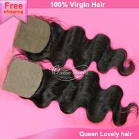 "peruvian virgin hair silk base closure body wave hair extension natural black hair products peruvian hair silk closure 4""X4"""