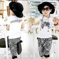 2014 Children's Sets clothing male female child cartoon black and white short-sleeve t shirts+shorts set retail free shipping