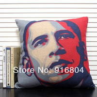 Free Shipping !! Wholesale Creative Obama Heads Photo Style Linen Cotton Material Home Decor Throw Pillow Cover 45cm*45cm