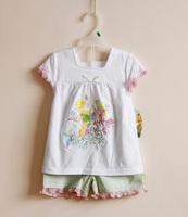 Good quality baby girls clothing set kids cartoon printed summer suit t-shirt + shorts with ruffled hem children outerwear