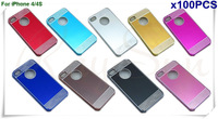 Free Shipping By FedEx/DHL Deluxe Laser Diamond Brushed Aluminum Hard Case  Skin Cover  For iPhone 4 4S - 100PCS