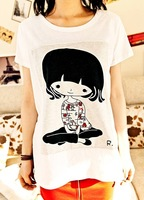 2014 new women's summer loose short-sleeve o-neck t-shirt cartoon girl print cheap cotton t-shirt for women CB012 Free Shipping