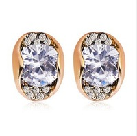 Free shipping 23939 Noble fashion rose gold plating crystal gold earrings wholesale top quality