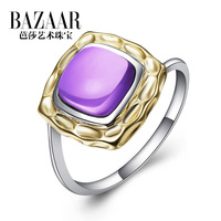 Jewelry accessories fashion natural crystal ring pure silver female finger ring gift r0129 big
