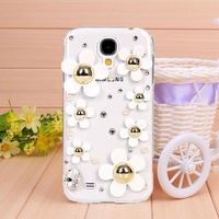 10Pcs/Lot New Arrival Fashion White Daisy Rhinestone Case For Samsung GALAXY S4 i9500 SIV Mobile Phone Cover Hard Shell