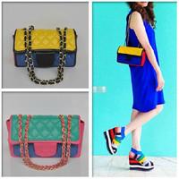 2014 New Fashion Brand Designer Handbags Women Candy Color Block Flap Messenger Bags Vintage Plaid Quilted Chain Shoulder Bolsas