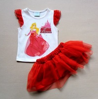 2014 Baby-girls Lace Posh top+TUTU skirts sets Cottingley Fairies dancewear outfits
